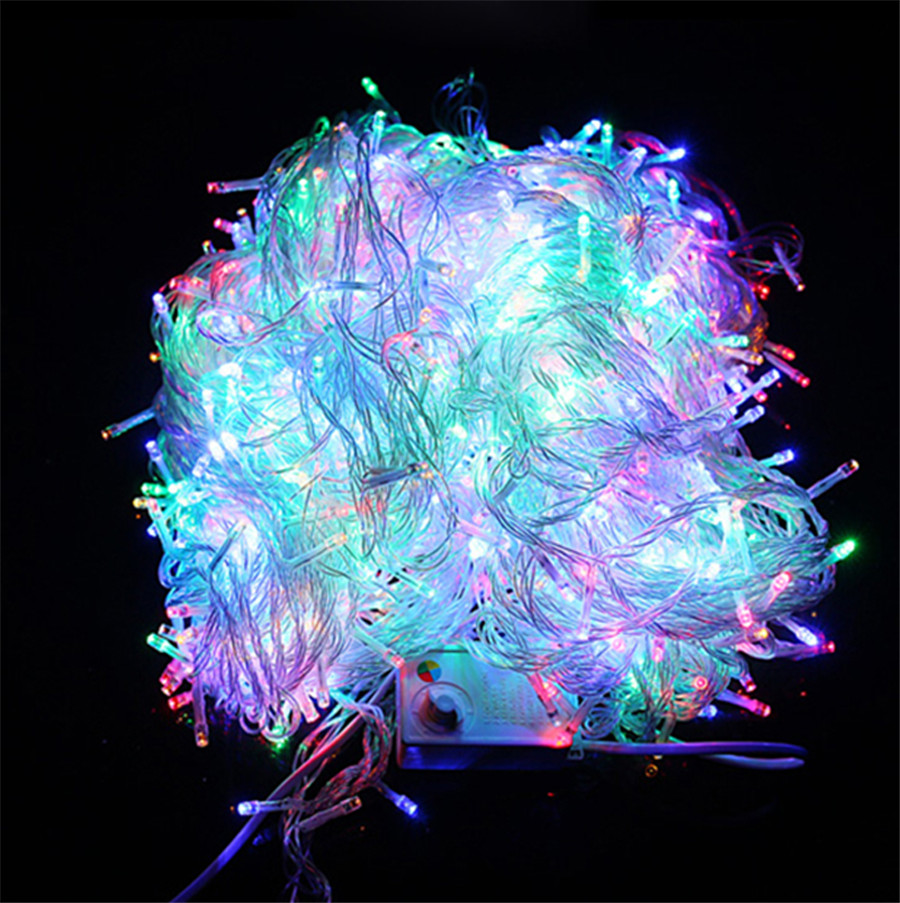 ФОТО 100M 600 LED Christmas Led String Light Outdoor Waterproof 220V Fairy String Garland 9 Color For Garden Wedding Party