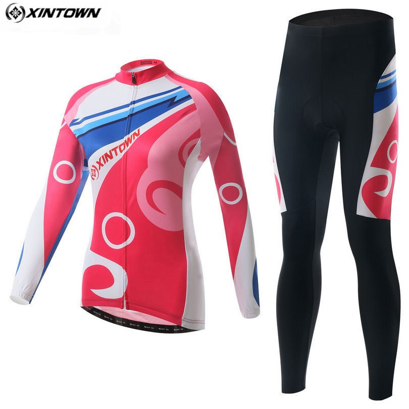 XINTOWN Winter Women Long Sleeve Cycling Jersey Set Red Outdoor Sportswear Maillot Biking Cycling Clothing /Ciclismo Clothing