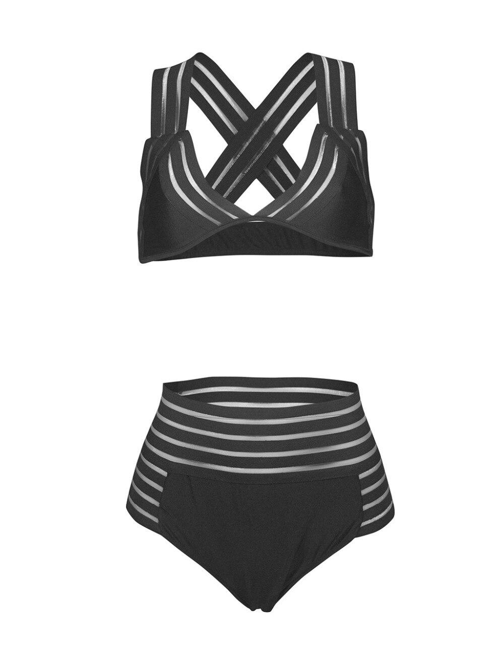 2018 alta cintura Stripped Hollow Out Net Bikini Set traje de baño