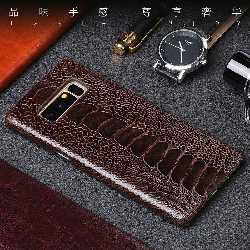 Véritable en cuir Téléphone étui pour samsung Note 8 9 S7 Bord S8 S9 Plus A5 A7 A8 J3 J5 J7 2017 D'autruche naturelles pied peau couverture arrière