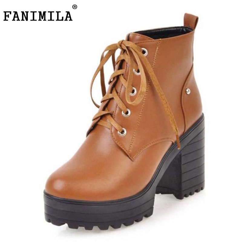 FANIMILA Size 34-43 Quality Women Platform High Heel Boots Women Cross Strap Thick Heel Boots Women Half Short Botas Women Shoes spring autumn women thick high heel mid calf boots platform woman short boots high heels shoes botas plus size 34 40 41 42 43