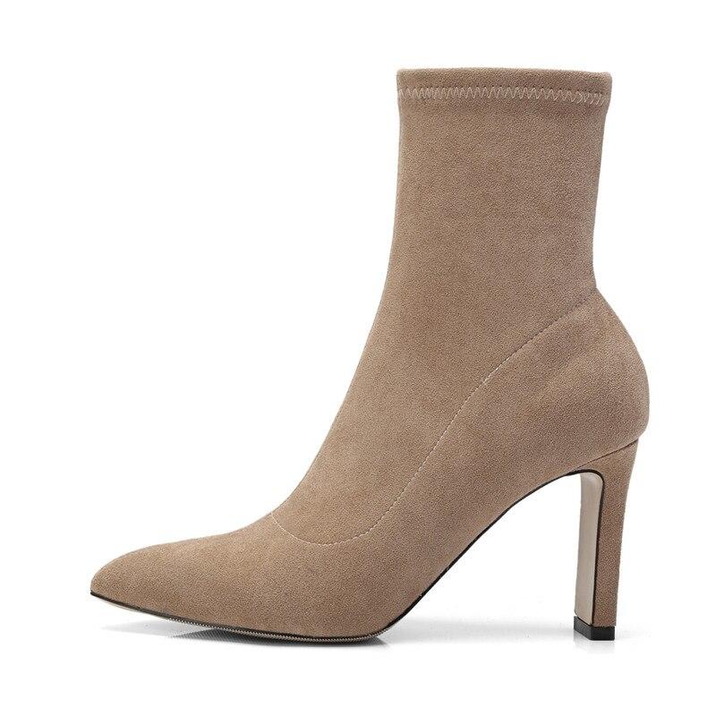 Sexy gris Noir Super Haute Femme Dames Hiver Cheville apricot Bout 2018 Moonmeek Automne Classique Pointu Troupeau Chaussures Mode Bottes Talons TCCUwqO