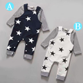 Retail 206 New 2pcs Long sleeve + suspenders baby boy girl clothes cotton100% Autumn long sleeve straps star infant boy clothing