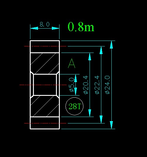 0.8m 28T/for Meat Grinder Parts etc. 0 8m 14t hole 3mm 4mm 5mm 6mm width 8mm for meat grinder parts etc