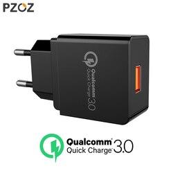 Pzoz Quick Charge 3.0 USB Зарядное устройство быстро Зарядное устройство 18 Вт ЕС зарядное USB портативный Зарядное устройство адаптер мобильный телефо...