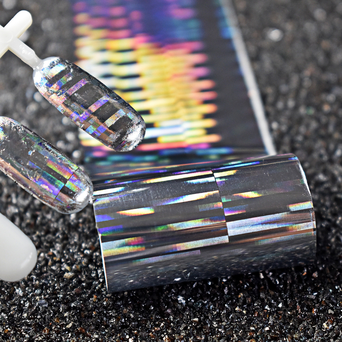 1 roll Holographic Nail Foils Laser Silver Colorful Holo Paper Polish Glue Nails Transfer Adhesive Sticker DIY Nail Decal 12 rolls mix color nail art sticker transfer foils decal dazzle colorful nails decoations set