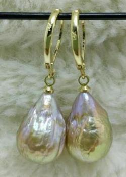 602c9fe7c5c3 Gratis shipiing enorme AAA Mar del Sur Natural barroca perla pendientes 14  K 20 oro amarillo