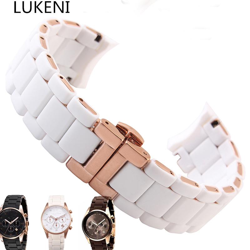 LUKENI 20MM 23MM Black White Brown Mens Full Stainless Steel+Rubber Watchband Watch Strap Bracelet For AR5920/AR5906/AR5905 liaopijiang bao gangshi used ar5890 ar5905 ar5906 stainless steel strip rubber fashion 20 23mm