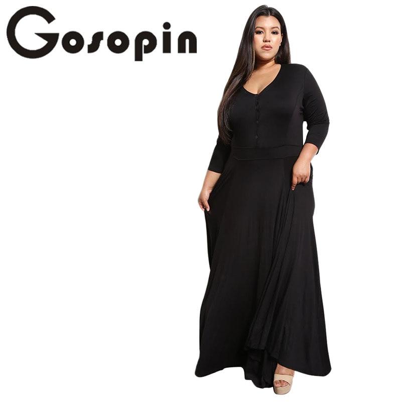 db2a1043341 Gosopin плюс Размеры глубоким v-образным вырезом Длинные платье макси  пикантные Вечеринка платье карман с длинным рукавом 4XL Для женщин осенние.