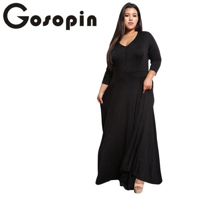 Gosopin Plus Size Deep V Neck Long Maxi Dress Sexy Evening Party Dress  Pocketed Long Sleeve 4XL Women Autumn Dresses LC610423 059ecfe8cdfe