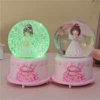Wedding Valentine's Day Gift Angel Music Boxes Snow Crystal Ball Box With Light Christmas Birthday Kids Student Gifts Home Decor