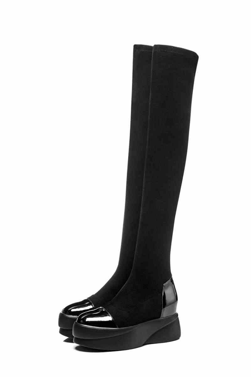 Lenkisen ronde neus hoge bodem platform effen koe lederen stretch stof dij hoge laarzen mode vrouwen over-de- knie laarzen L08