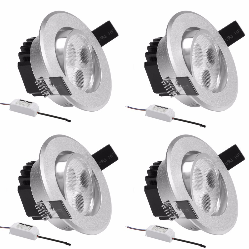 4 pcslot le 3w 3 inch led recessed ceiling lightmatte silver frame 4 pcslot le 3w 3 inch led recessed ceiling lightmatte silver framedaylight whitewarm whiteled spotlightsrecessed lights in led downlights from lights aloadofball Images