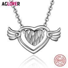 New Arrivals 925 Silver Necklace Fashion Charm Double Heart Pendant 100% 50cm Chain Women Necklaces Jewelry
