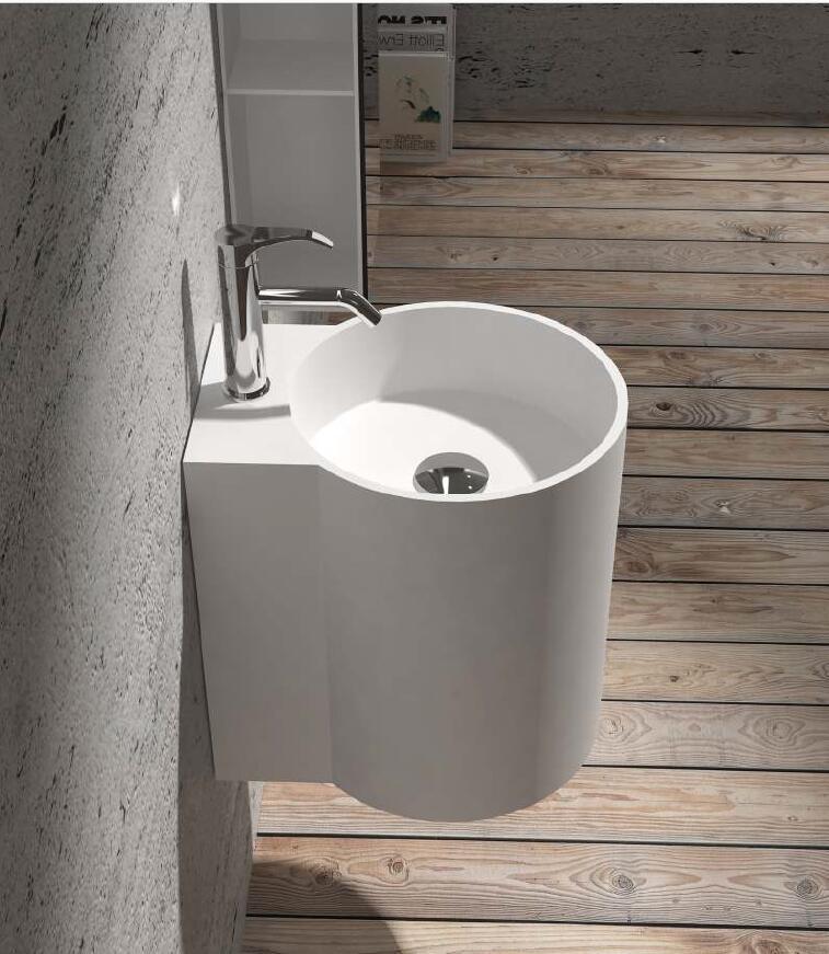 corian lavabo mural de salle de bains bassin a wason suspendu surface solide evier a main vestiaire vanite de lavage evier rs38479