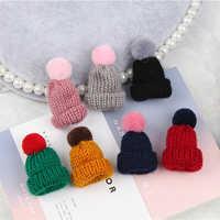 Women Fashion Knitted Pom Pom Hat Brooch Pin Cute Christmas Gift Dress Scarf Accessory