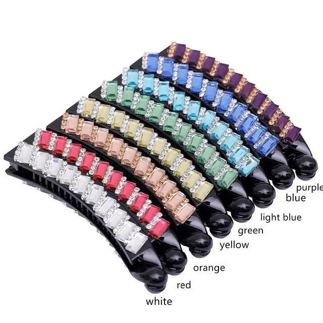 Fancyin Rhinestone Eight Colors 10cm Banana Hair Claw Barrettes Clip For Women Crystal Accessories