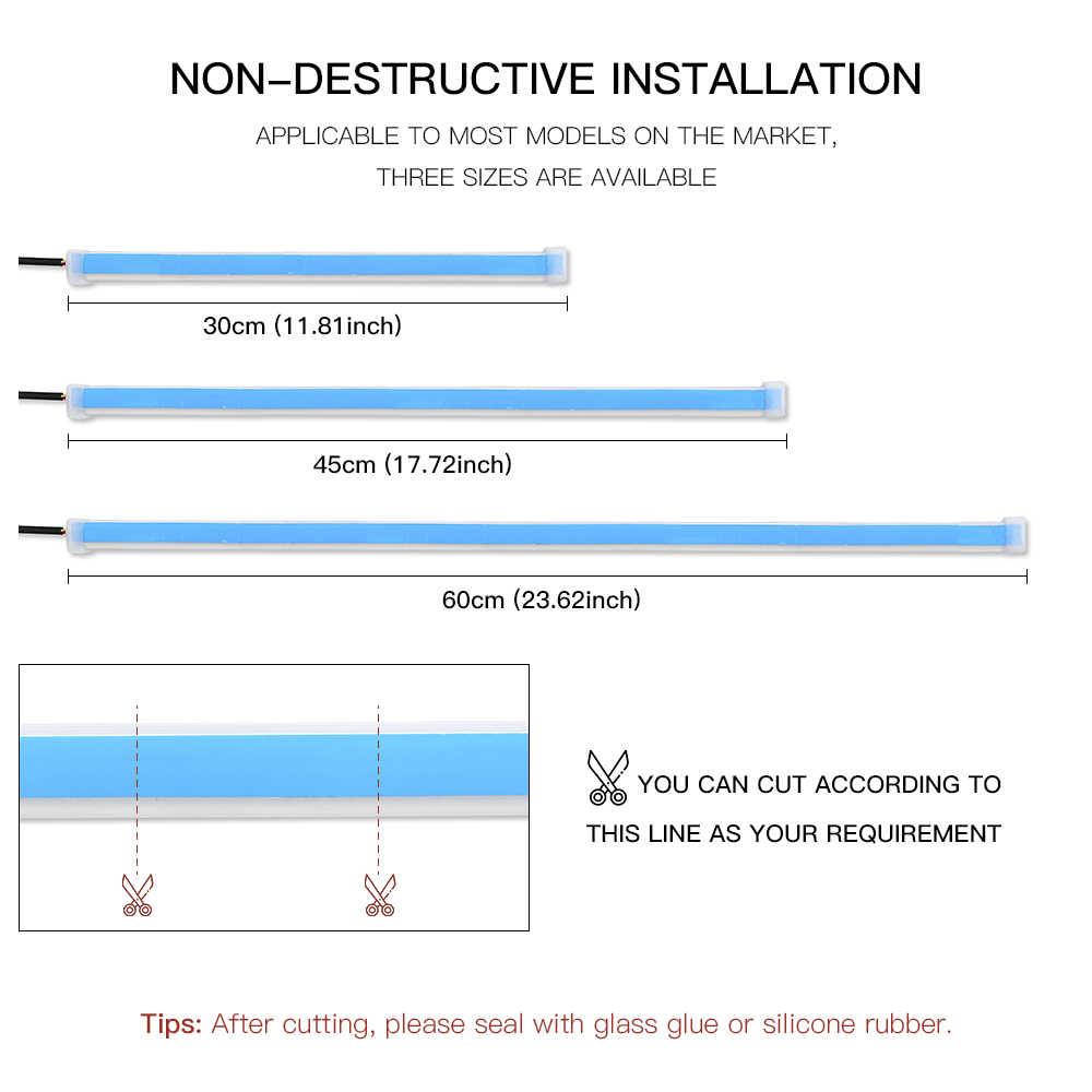 2x Ultrafeinen DRL 30 45 60cm Tagfahrlicht Flexible Weichen Schlauch Guide Auto LED Streifen Weiß Rot Drehen signal Gelb Wasserdicht