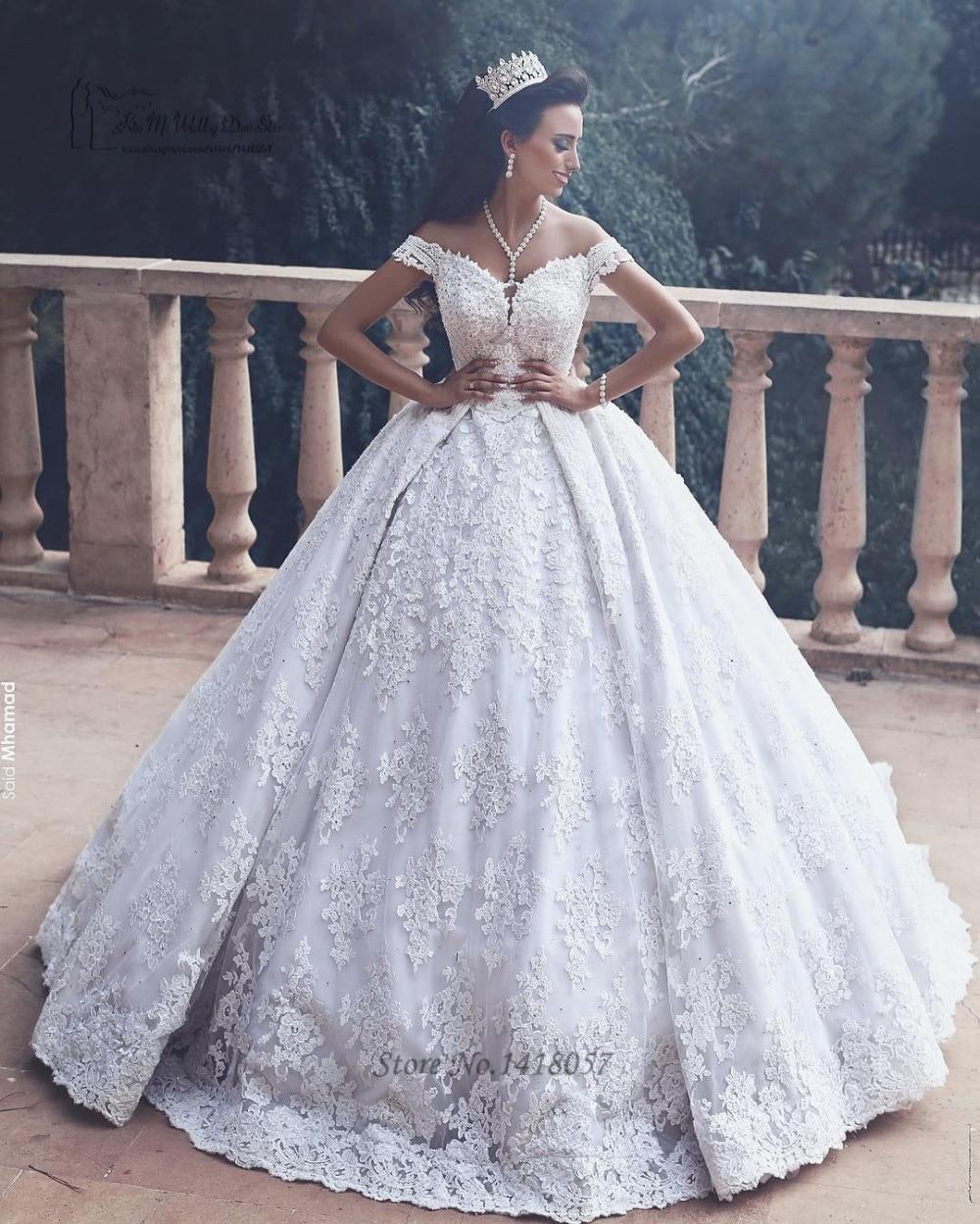 Luxury Dubai Wedding Dresses Turkey Ball Gown Bride Dress Lace ...