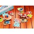 De madeira Jogo De Pesca Magnética Brinquedo 14 + 2 Peixe Varas De Pesca para o Bebê Crianças Crianças