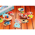 Wooden Magnetic Fishing Game Toy 14 Fish+2 Fishing Rods for Baby Kids Children
