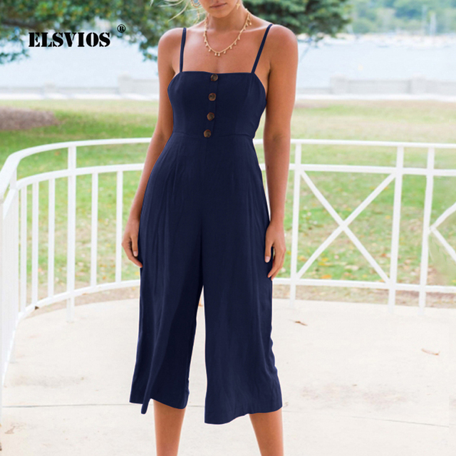94158492d865 ELSVIOS Spaghetti Strap Backless Bow Tie Women Jumpsuit Button Strapless  Summer Playsuit Rompers Solid Wide Leg Casual Jumpsuits