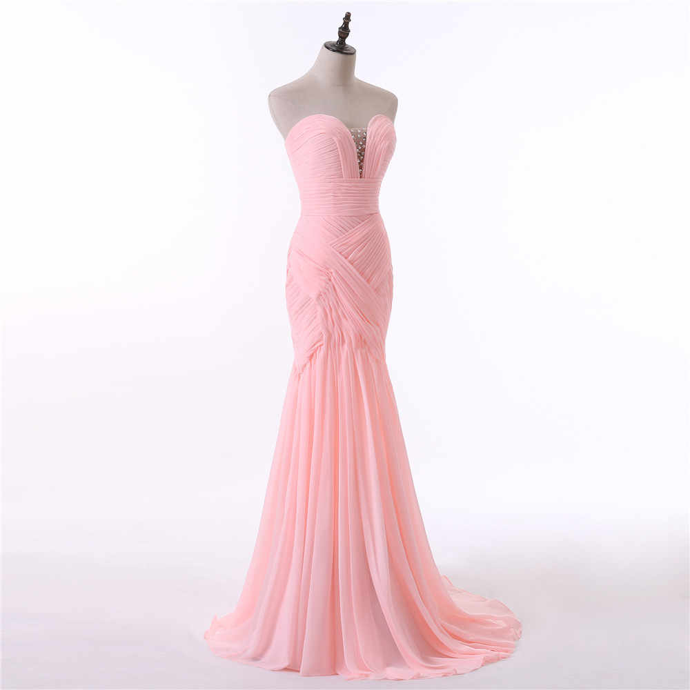 b60f53f6f ... Pink Evening Dresses 2019 Mermaid Sweetheart Chiffon Beaded Backless  Slit Elegant Long Evening Gown Prom Dress ...
