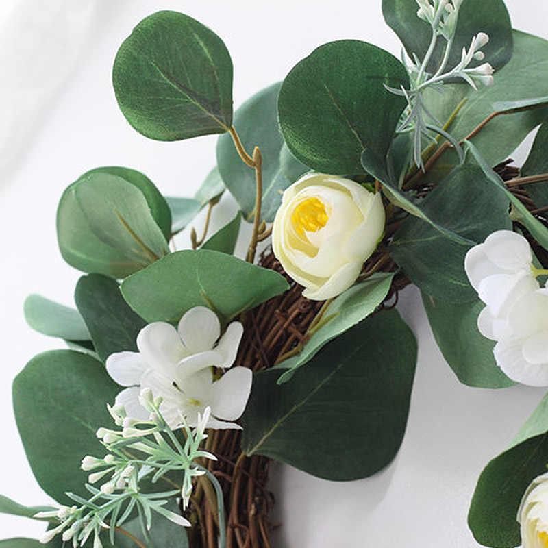 Buatan Hijau Daun Karangan Bunga Bunga Garland Tanaman Palsu Jendela Pintu Gantung untuk Rumah Hotel Dekorasi Pernikahan Karangan Bunga Dekorasi Foto