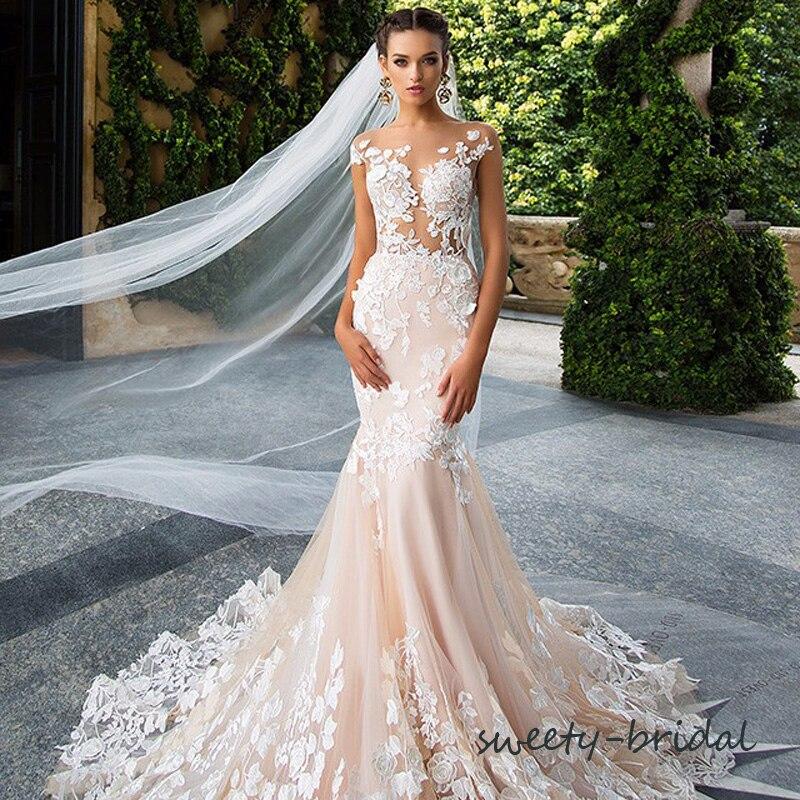 Exquisite Wedding Dresses 2017 New Lace Applique Mermaid White/Peach ...