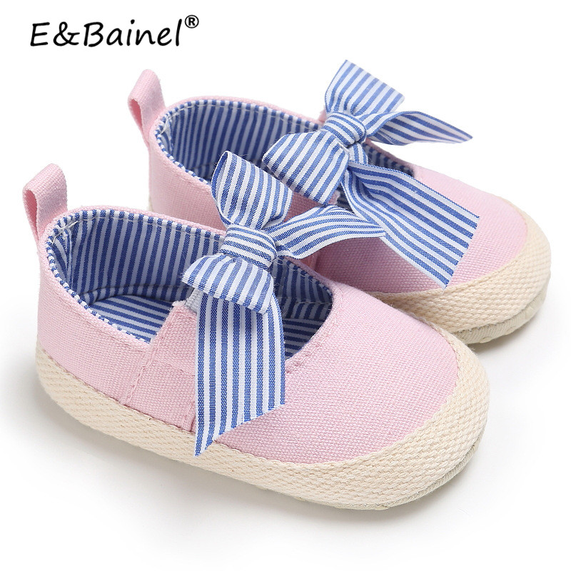 2018 Summer Toddler Baby Shoes Newborn Girls Soft Soled Cotton Cloth Princess Striped Crib Shoes Prewalker First Walkers