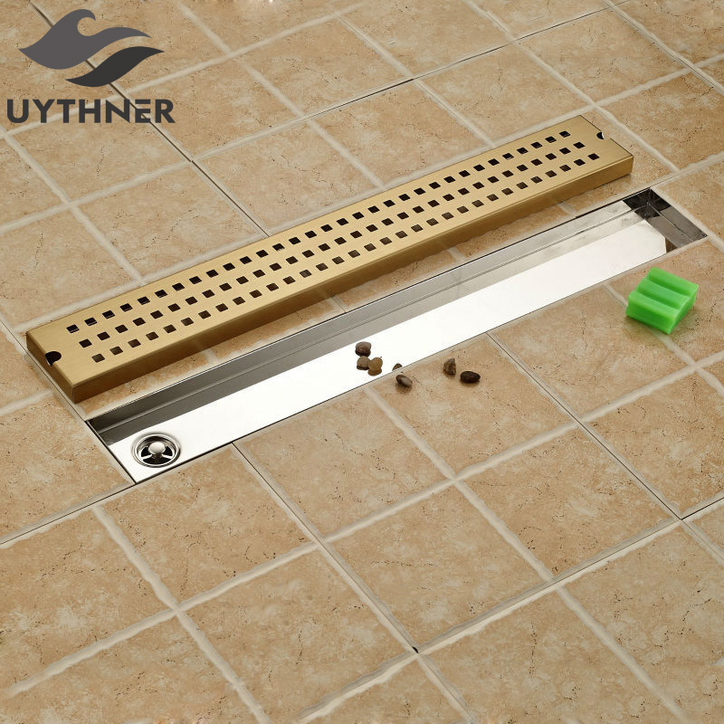 Newly Ti-Gold Plate 70*10cm Floor Drain Gound Drainer Euro Style Rectangle Shower Strainer Floor Filler цена и фото