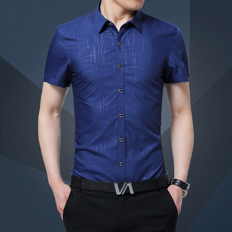 1pcs Men's Plus Size Shirts 2019 Autumn Pure Silk Thin Short Sleeves Casual Dress Shirts Men Skinny Shirts Overhemd Tops Boys