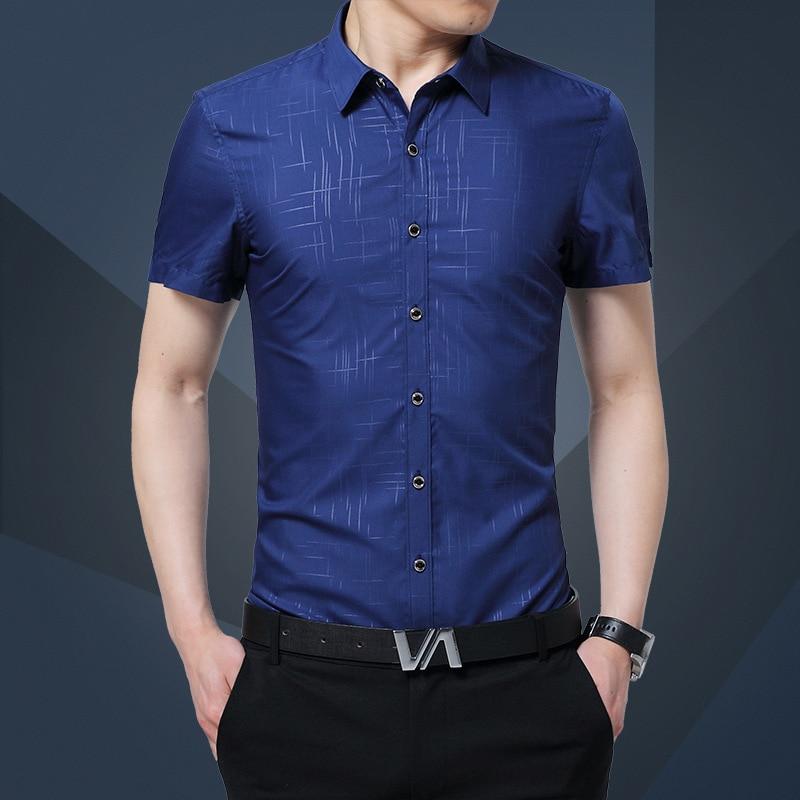 1 piezas Camisas de tallas grandes para hombres 2019 Verano Seda pura - Ropa de hombre
