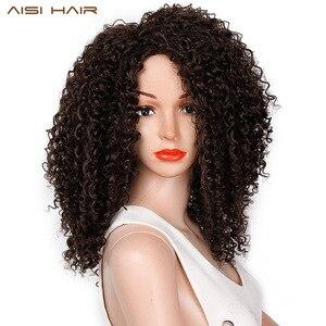 Image 1 - Волосы AISI, 16 дюймов, темно коричневые, афро, курчавые, синтетический парик для женщин, термостойкие, африканские, пушистые волосы, парики