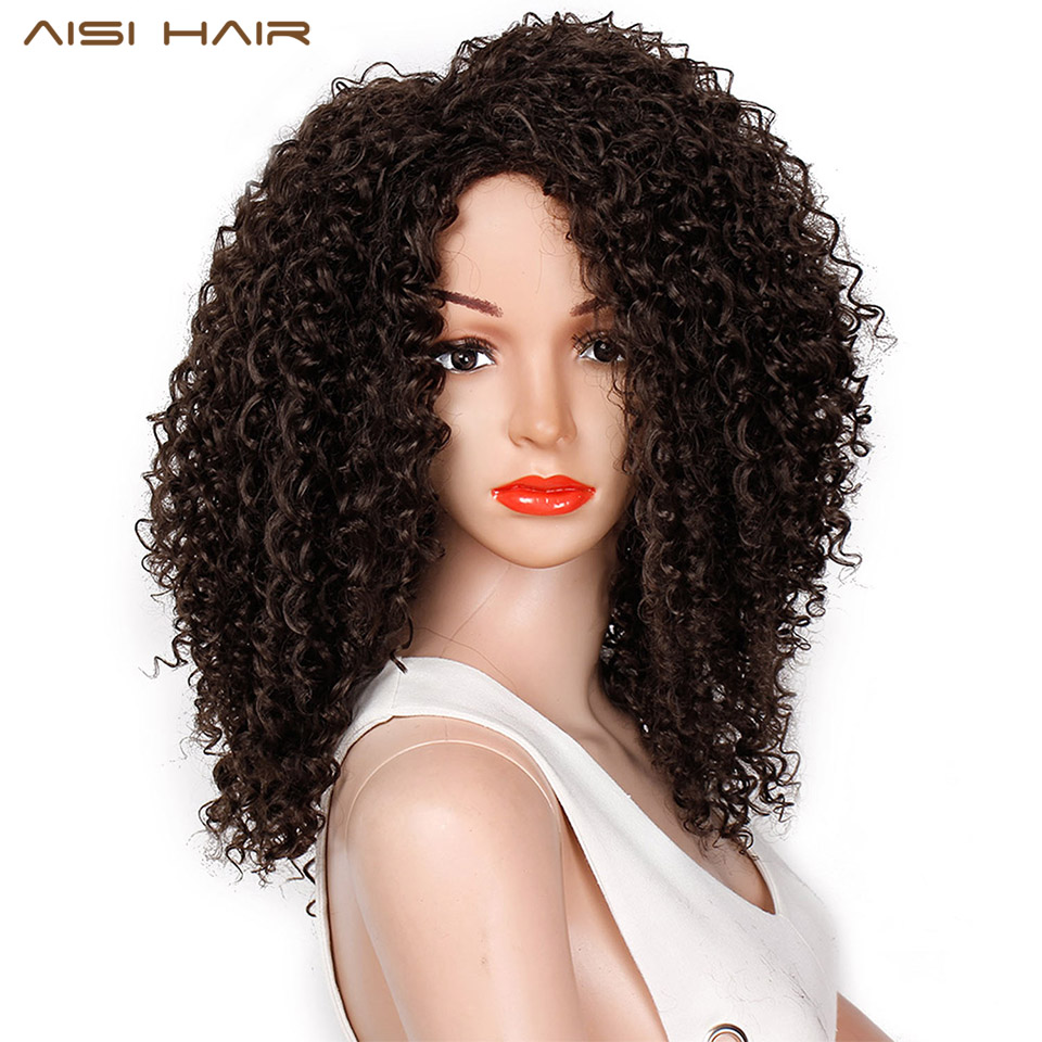 AISI HAIR 16 Inch Dark Brown Afro Kinky Curly Synthetic Wig For Women Heat Resistant African Fluffy Hairstyle Wigs