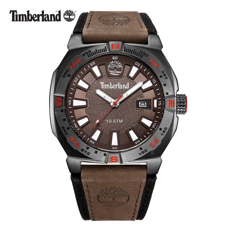 Timberland Original Men's Watches Brown Leather Large Dial Casual Quartz Calendar Waterproof Men Watch T14364