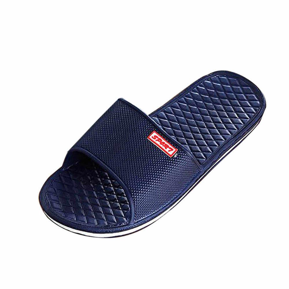 6b8249fe29bd9 ... Men Solid Flat Bath Slippers Summer Sandals Indoor   Outdoor Slippers