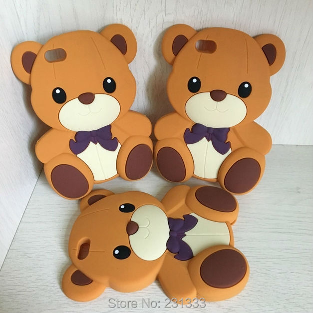 For Apple Iphone 5 5S 4 4G 4S Ipod Touch 6 5 3D Cartoon Teddy Bear Soft Silicone gel Case Bowknot Cute Animal Skin Fashion 1pcs