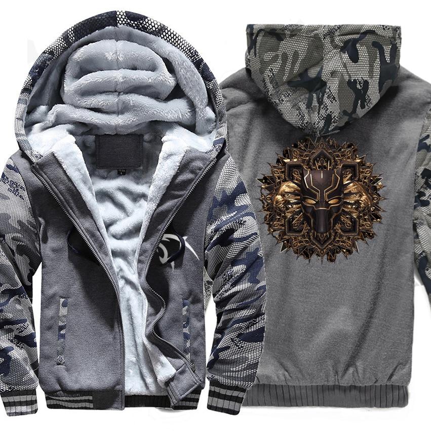 Autumn Winter Thick Coats Hooded Hoddie 2018 Fashion Super Hero Movie Black Panther Hip Hop Hoodies For Men Harajuku Sweatshirts