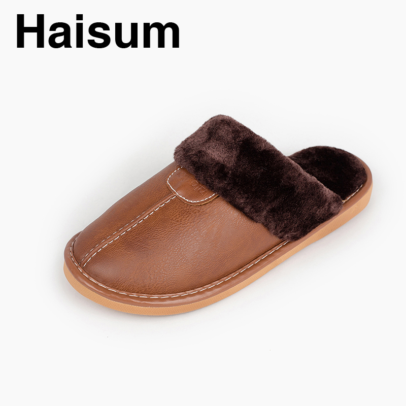 Men 's Slippers Winter Pu Leather Home Indoor Non - Slip Thermal Slippers 2018 New Hot Haisum L-1800 plush home slippers women winter indoor shoes couple slippers men waterproof home interior non slip warmth month pu leather
