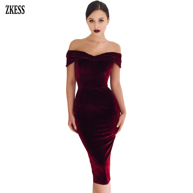 41c9ba759d02 ZKESS Women Wine Black Off Shoulder Ruched Velvet Party Dress Sexy  Strapless Sleeveless Club Stretch Bodycon