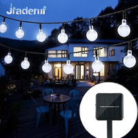 Jiaderui 6M 30LED Crystal Ball Solar Lamp LED String Solar Panels Waterproof Outdoor Lighting String Fairy
