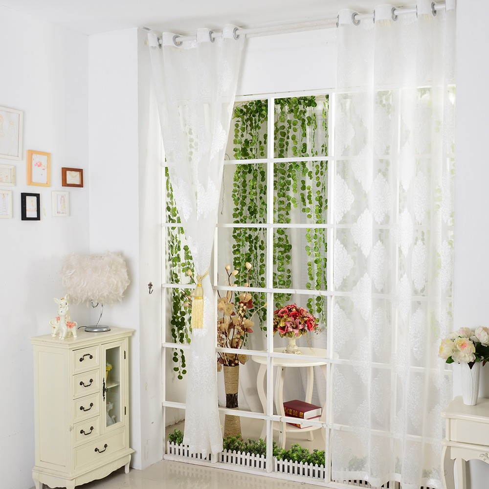 European Style Luxury Window Curtain Printed Tulle Fabric For ...