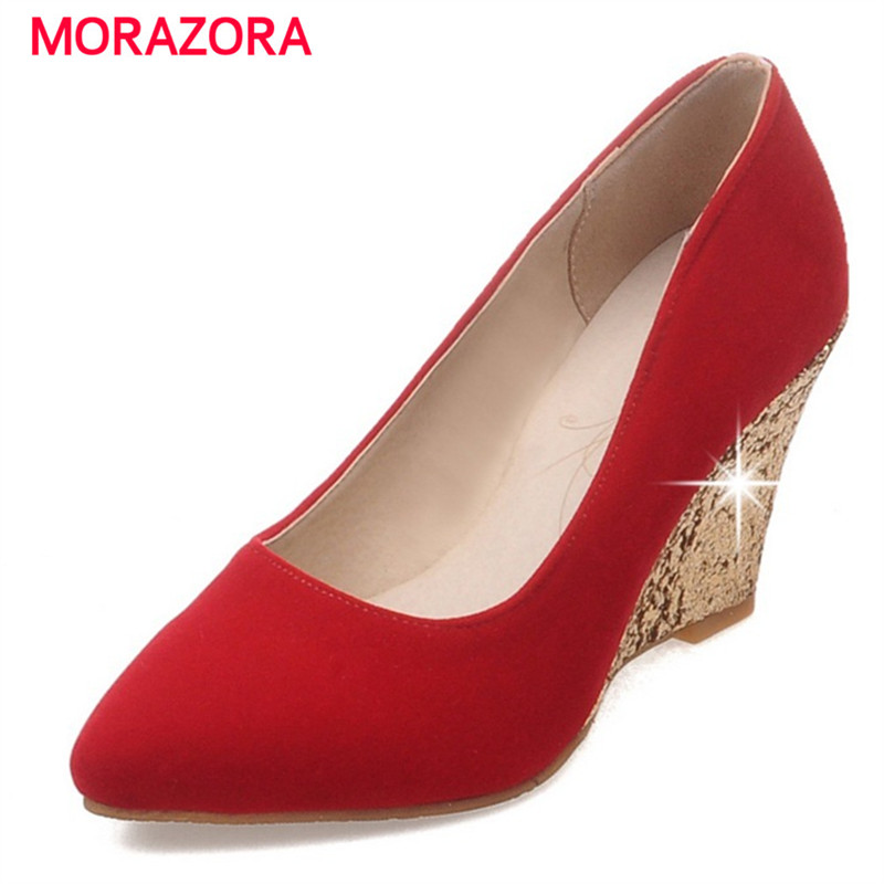 MORAZORA Big size 34-43 wedges shoes woman PU nubuck leather pumps shallow wedding shoes party elegant fashion high heels 8cm morazora women patent leather pumps sexy lady high heels shoes platform shallow single elegant wedding party big size 34 43