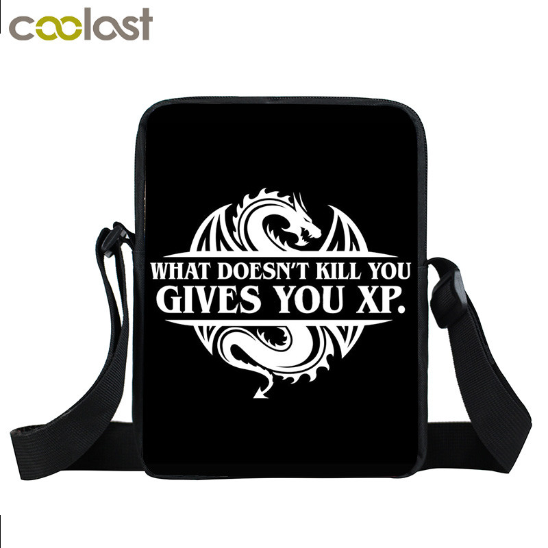 Funny Letters What Doesnt Kill You Gives You Xp Dnd Slaying Dragons In  Dungeon Mini Messenger Bag Teenage Boy Cross Bag Bookbag
