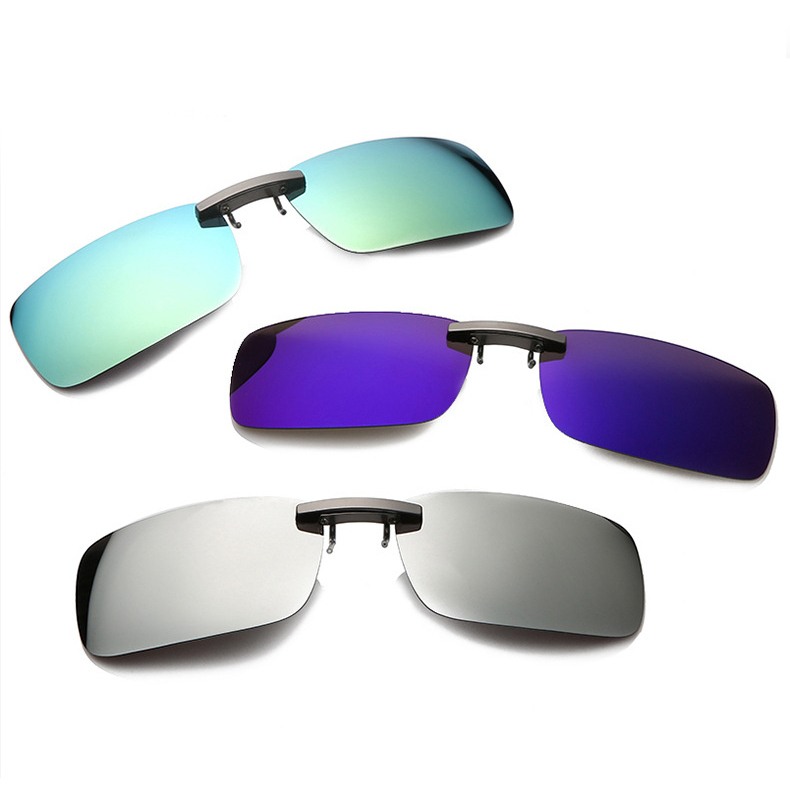 Rompin Unisex Fishing sunglasses clip Polarized Day Night Vision Clips Easy Clip-on Flip-up Lens Driving Glasses Fishing image