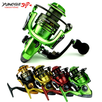Spinning Fishing Reel 4 Colors 1000 7000 Series Metal Arm 14BB Gapless Metal Spool EVA Wood