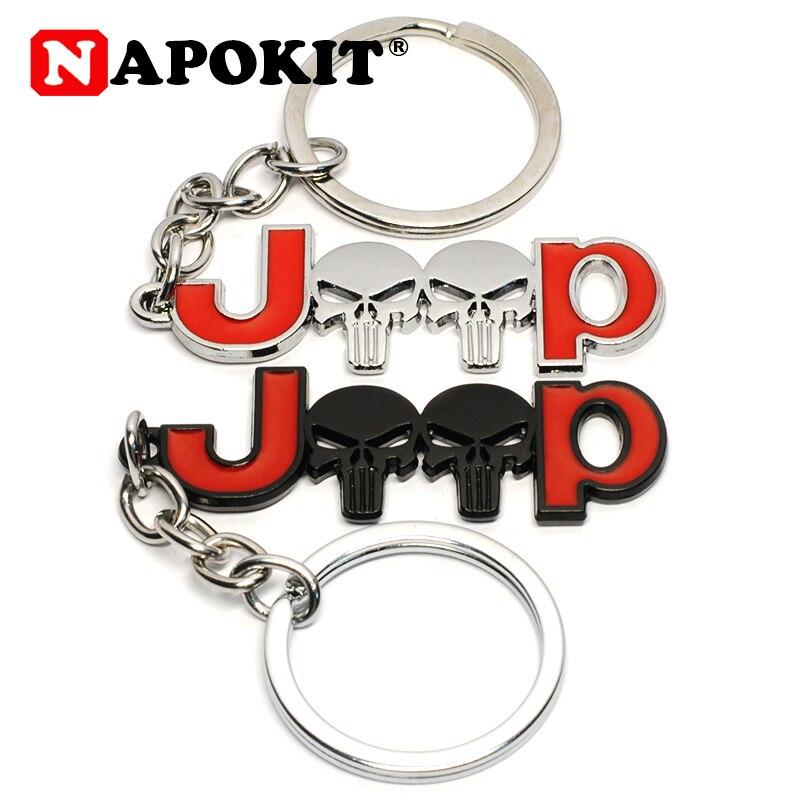 Fashion &Cool 3D Metal Skull Car Keychain Car Key Chain Key Ring For Jeep Compass Renegade Wrangler JK TJ Grand Cherokee Patriot