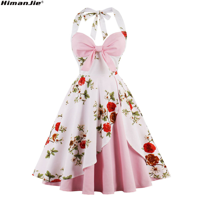 Floral Print Vintage Dress Women Halter Swing spring pin up Hepburn 50s 60s Retro  Rockabilly Robe c87bb5b676cf
