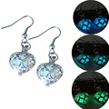 Silver Plated Glowing Stone Stud Earrings Locket Hollow Heart Glow In The Dark Earrings Jewelry For Women Luminous Earrings 2016